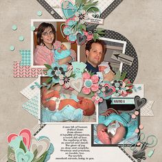 A Labor of Love:  Arrival Day  Credits:  Expecting (Kit and Template), Designs by Connie Prince; (Template Used is included in the Bundle) Available at:   Ginger Scraps - http://store.gingerscraps.net/Expecting-Kit.html and http://store.gingerscraps.net/Expecting-12x12-Templates-CU-Ok.html  Font Used:  Caneletter Sans Personal Use, Microsoft Phags Pa, and Myriad Condensed Web