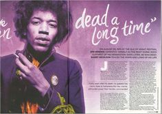 I like how the double page spread uses contrast to draw the viewer's eye while still maintaining a consistent yet varied colour palette. Isle Of Wight Festival, Magazine Spreads, Magazine Design, Magazine Layouts, Jimi Hendrix, Editorial Design, My Love, Level 3, Paragraph
