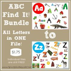 ABC Find It! Bundle {all printables A-Z in one file} Note ~ Individual files are available for FREE also!  Link is in the post!