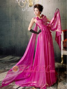 Fuchsia Hand Made Flowers Watteau Train Prom / Evening Dress Silk Like Satin  http://www.fashionos.com  You'll be the envy of the evening in this fabulous gown. Lots of romantic flowers are adorned on the fitted ruching bodice achieving a glamorous look. The floor-length skirt is a long and pleats that begins at the waist and envelopes the legs in luxurious tulle all the way to the floor in a pretty empire shape. The side attached pieces of fabric creats a shawl effect.