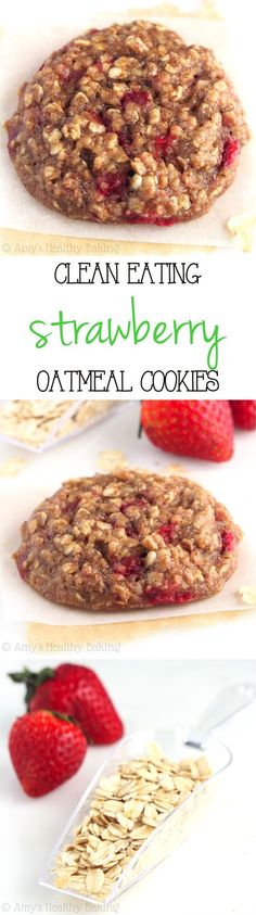 Clean-Eating Strawberry Oatmeal Cookies -- these skinny cookies don't taste…