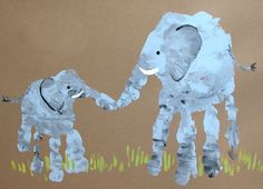 Elephant Mom & Baby handprint, plus other cute animals to make out of hand/foot prints