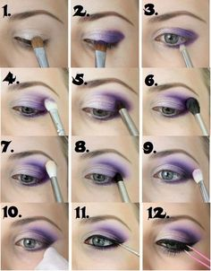 Make up for beginners. - Schminken - Make up augen Purple Eye Makeup, Smokey Eye Makeup, Eyeshadow Makeup, Mac Makeup, Purple Smokey Eye, Purple Eyeshadow Looks, Punk Makeup, Natural Eyeshadow, Makeup Geek