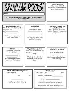 Grammar Rocks! A Worksheet to Accompany the Cartoon