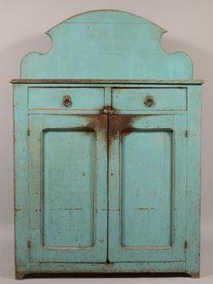 Antique primitive hanging cupboard. Probably original paint.