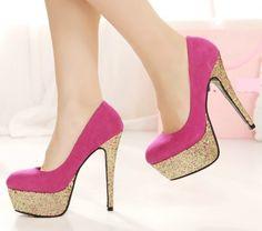 Kode : AWF-364, Nama : Fashion Heels Pink Fanta & Gold Glitter, Price : IDR 175