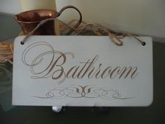 Bathroom Sign, Shabby Chic Bathroom Sign, Distressed Door Sign, Shabby Chic Wall Decor, Wooden Sign