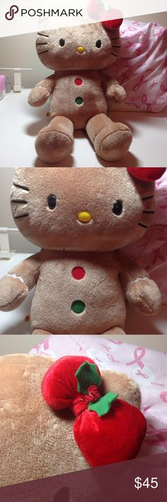 Hello Kitty Gingerbread Build A Bear Workshop Tan with red and green patches. Wrists and ankles are decorated with white decor. Red bow with holly. No stains or rips. Smoke free home. Sanrio Build A Bear Other