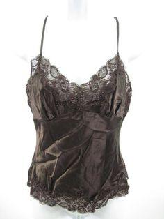 CENTRAL PARK WEST Brown Silk Spaghetti Strap Shirt Sz S | eBay