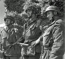 Men of D Company, 2nd Battalion, Ox and Bucks after capturing Pegasus Bridge.