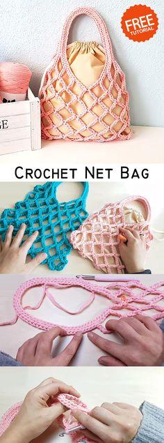 Simple Net Bag Crochet this simple net bag for summer.Crochet this simple net bag for summer. Crochet Drawstring Bag, Bag Crochet, Crochet Market Bag, Crochet Handbags, Crochet Purses, Love Crochet, Crochet Crafts, Crochet Hooks, Crochet Projects