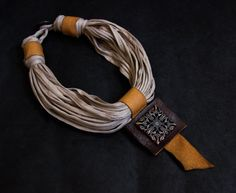 Stylish statement textile and leather necklace with copper color pendant  Unique leather jewelry Collar necklace
