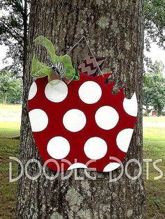 Apple Door Hanger by DoOdLeDotsAnDmOre on Etsy, $30.00