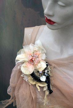 Pale flower  ornate brooch  antique lace by FleursBoheme on Etsy