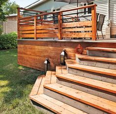 Beautifully integrated patio – Patio – Inspirations – Gardening and outdoors – Pr … - Home & DIY Deck Railing Design, Deck Railings, Patio Design, Horizontal Deck Railing, Railing Ideas, Pergola Patio, Backyard Patio, Back Patio, Ensemble Patio