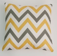 "Large Chevron ZigZag Yellow, Grey and White Geometric Cushion Cover 16"" / 40cm"