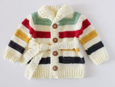 Crochet Hudson's Bay Baby Sweater | Daisy Farm Crafts