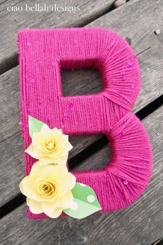 Yarn Wrapped Letters with Paper Flowers by CiaoBellahDesigns, $20.00