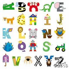 Oriental Trading Alphabet crafts. Buy a few letters or all in one kit.  Or just use the idea for each letter and make it with materials we have at home.