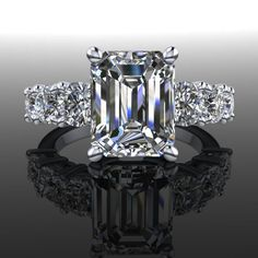 http://rubies.work/0025-emerald-earrings/ Forever Brilliant Moissanite Engagement Ring Emerald Cut 5.32 CTW – Bel Viaggio Designs