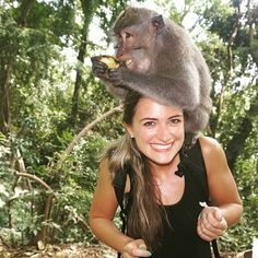 Monkey business in Bali.  With the lovely and always smiling @lvbosworth one of our Goddesses making the most of her time in paradise at the Sacred Monkey Forest in Ubud.  @goddessretreats  #Goddessvibes #womenshealth #qotd #quoteoftheday #womenswisdom #travelquotes #sayings #goodquote #travel #travelgram by goddessretreats