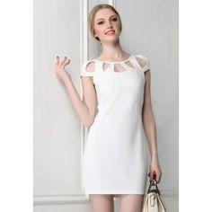 Agujeros sin respaldo diseño elegante vestido corto de la manga mujeres blancas