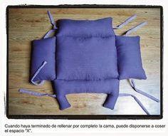 Molde da caminha:         Corte este molde 2 vezes (tecido de dentro e de fora).           Costure e nos locais marcados com números coloq...