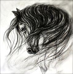 Charcoal horse-horse art 'Mane Dance' by FerraroFineArt on Etsy