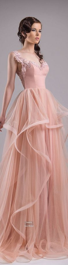 Chrystelle Atallah ~ Couture Spring Pleated Flowing Gown w Embroidered Sleeves + Bodice Back, Peach  2015