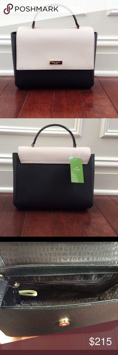 🚨FINAL PRICE🚨NWTKate Spade Black/White Crossbody Keep it classy with this chic BRAND NEW Paterson Court Brynlee Kate Spade Crossbody Handbag in Black and Pebble.  Dimensions of bag: 7 inches high and 9 inches wide.  Drop length is 2.5 inches when handheld.  Bag comes with detachable and adjustable crossbody strap.  Bag features cross hatched leather material, front snap closure, two interior slide pockets and one zipper pocket. Statement Style HP! ❤️ kate spade Bags Crossbody Bags