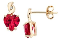 2 Carat Created Ruby & Diamond 14K Yellow Gold Earrings - Retail Value: $225.00   ICE Price: $150.00