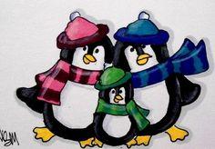 "Aceo Original  ""PENGUIN FAMILY""  pencil/ink #OutsiderArt"