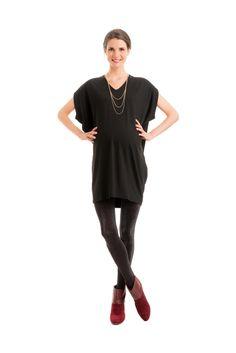V-NECK DRESS WITH LEATHER TRIM | Fourth Love (Pregnancy Love)