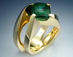 18k anillo de oro mujer con meteorito y diamante