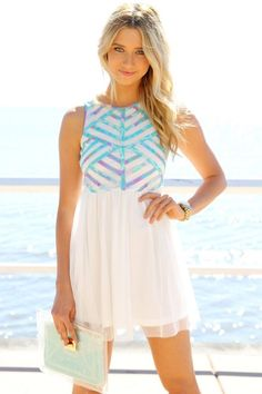 white mini dress with pastel overlay-want for spring