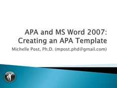 This tutorial teaches the user how to create an APA Ed. template using MS Word Apa Template, Templates, Higher Education, Professor, Need To Know, Dr Post, Teaching, Writing, Words