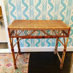 This fantastic little rattan and wicker console would work pretty much anywhere. Needs a loving home! $100. 30h x 17.5d x 34.5w. Message me…