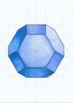 #polyhedra #solid #geometry #symmetry #handmade #mathart #regolo54 #escher #hexagon #circle #pencil