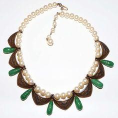 Vintage MARVELLA Green Peking Art Glass Brass Necklace ESTATE