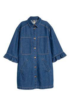 Uzun Kot Ceket - Koyu kot mavisi - Ladies   H&M TR