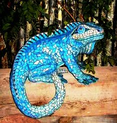 Lizards - Stained glass on cement / fiberglass and foam with wire reinforcement.