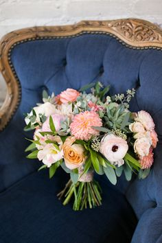 Peach, blush, and eucalyptus bridal bouquet | Kaysha Weiner Photographer
