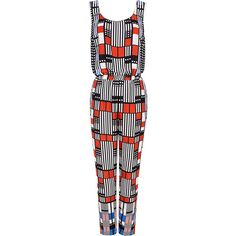 Harlyn - Deco printed jumpsuit ($159) ❤ liked on Polyvore featuring jumpsuits, jumpsuit, sleeveless jumpsuit and jump suit
