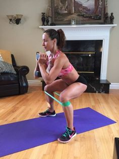 Banded Squats will target your inner and outer thighs much more than a regular squat. Also, they help activate the glutes.