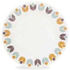 Assiette plate motif fleurs en porcelaine D 27 cm MIMOSA