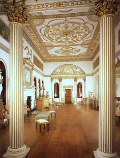Dining room at Syon House by Robert Adam ~Grand Mansions, Castles, Dream Homes & Luxury Homes ~Wealth and Luxury