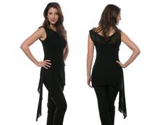 NICOLE - Sleeveless long boatneck top with asymmetrical side tail. Sides can be knotted together for a completely different look. Very dramatic and sexy...