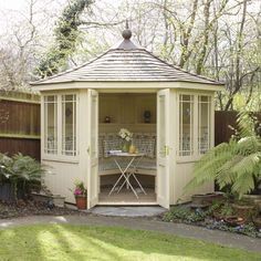 Every thought about how to house those extra items and de-clutter the garden? Building a shed is a popular solution for creating storage space outside the house. Whether you are thinking about having a go and building a shed yourself Corner Summer House, Summer House Garden, Home And Garden, Summer Houses, Garden Cottage, Small Summer House, Garden Homes, Garden Buildings, Garden Structures