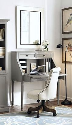 A small secretary desk packed with style. HomeDecorators.com #12DaysodDeals2015 #marthastewart