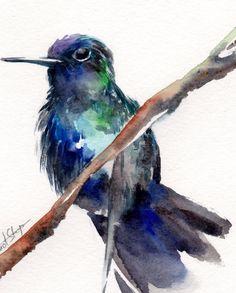Blue Green #Hummingbird #Watercolor Painting Original Watercolor Painting Modern Bird Watercolour Art  One of a Kind Watercolour Art  Scale:  6x8'' (15x20 cm) Medium: top bra... #art #etsy #trending #sale #decor #hummingbird #painting #watercolor #watecolour